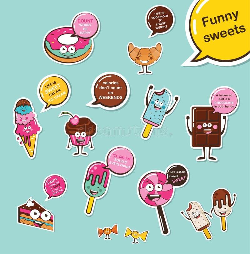Uppsättning av roliga sötsaker Emoji för tecknad filmframsidamat fuuny matbegrepp vektor illustrationer
