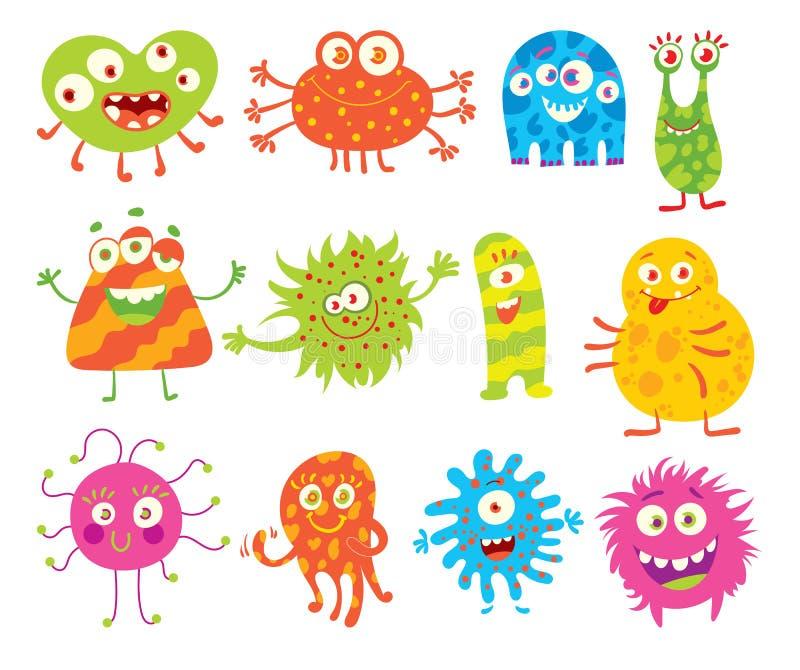 Uppsättning av roliga små monster royaltyfri illustrationer