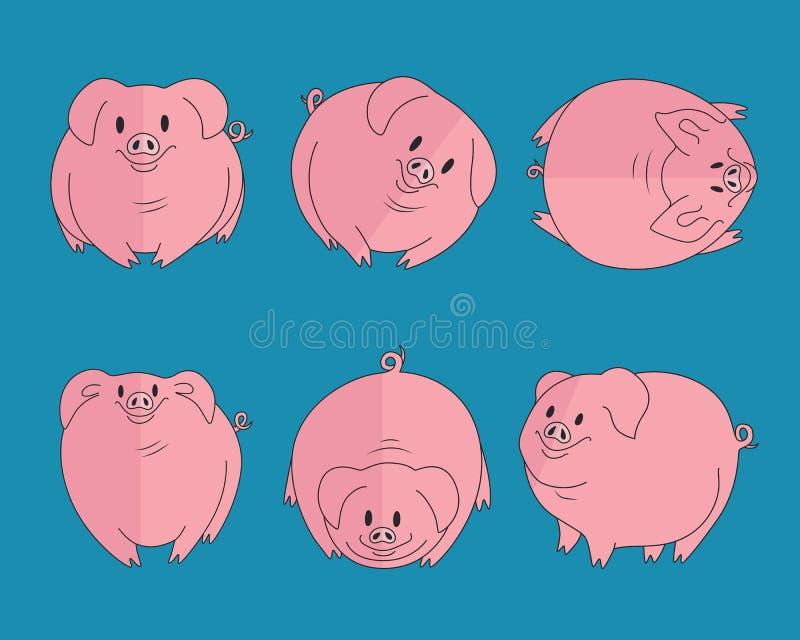 Uppsättning av roliga svin stock illustrationer