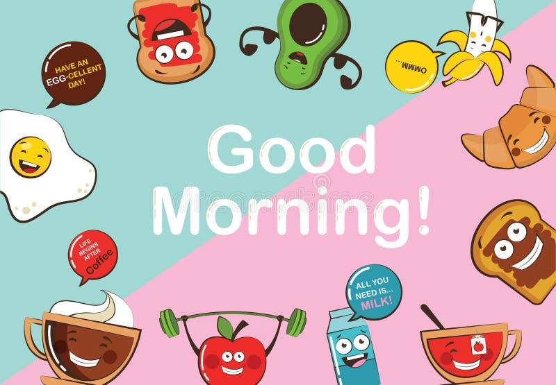 Uppsättning av roliga symboler för frukostmat Emoji för tecknad filmframsidamat fuuny matbegrepp royaltyfri illustrationer