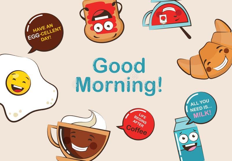 Uppsättning av roliga symboler för frukostmat Emoji för tecknad filmframsidamat fuuny matbegrepp vektor illustrationer