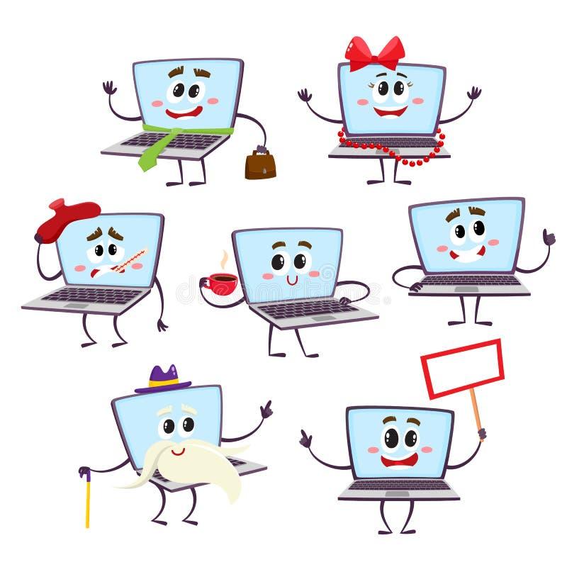 Uppsättning av roliga tecken för tecknad filmbärbar datordator stock illustrationer