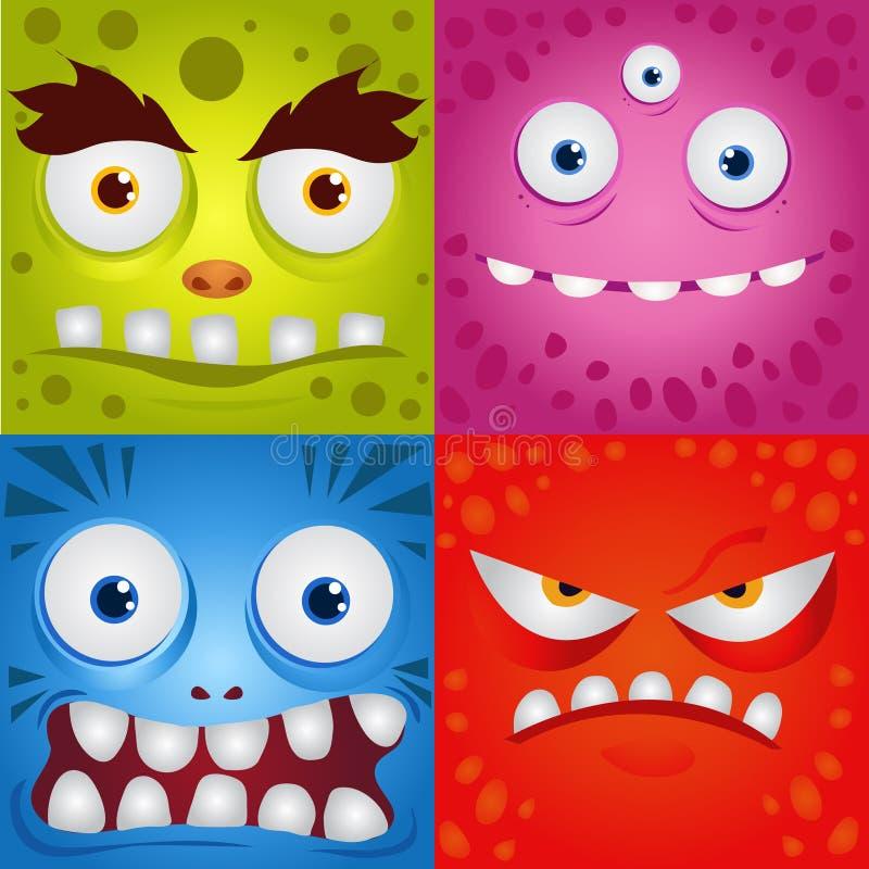 Uppsättning av roliga tecknad filmuttrycksmonster stock illustrationer