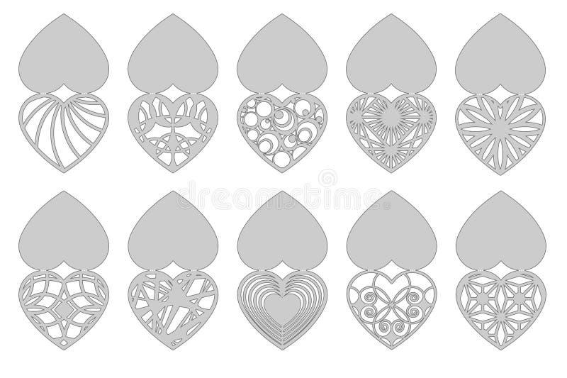 Uppsättning av romantiska hälsningkort för laser-klipp Passande för födelsedagen, dag för valentin` som s gifta sig inbjudan stock illustrationer