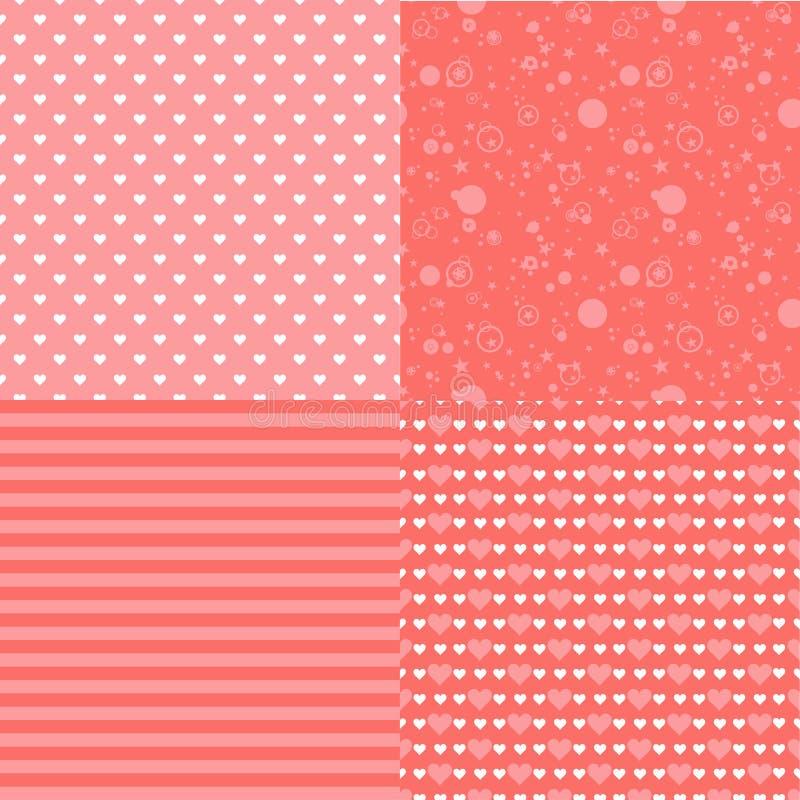 Uppsättning av romantiska sömlösa modeller med hjärtor (att belägga med tegel) Rosa färg också vektor för coreldrawillustration B vektor illustrationer