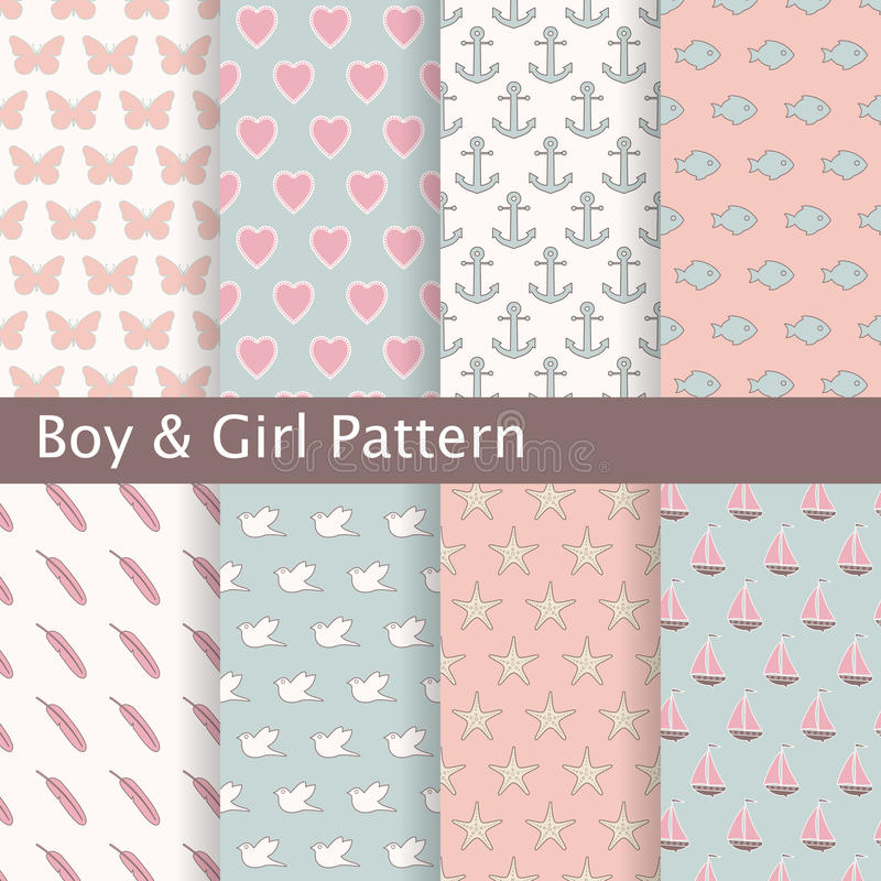 Uppsättning av rosa färger och blåa sömlösa modeller Ideal för behandla som ett barn design royaltyfri illustrationer