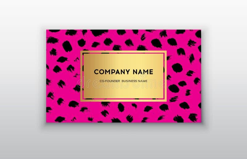 Uppsättning av rosa färger och det guld- designaffärskortet moderna abstrakt bakgrunder Borsteprickslaglängd royaltyfri illustrationer