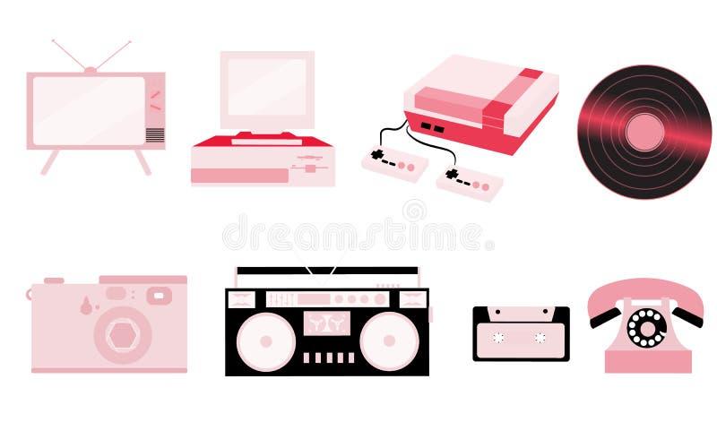 Uppsättning av rosa gammal retro tappninghipsterteknologi, elektronik: dator ljudsignal registreringsapparat, modig konsol, ljudk vektor illustrationer