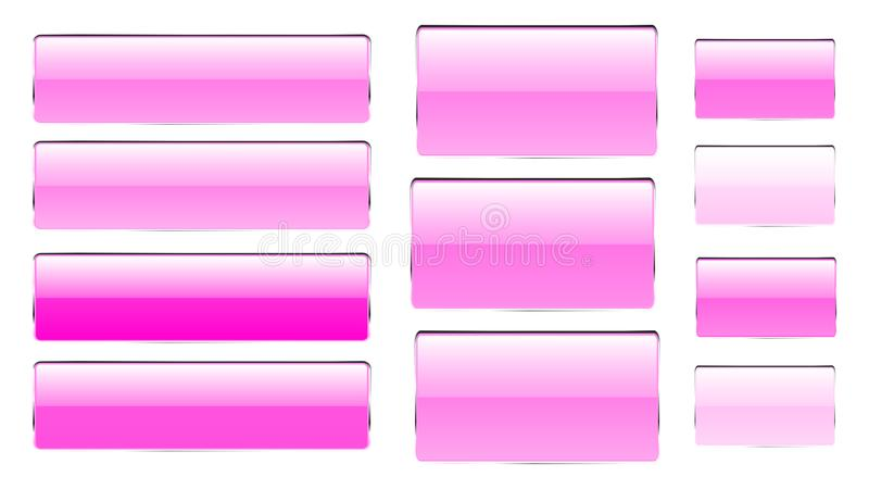 Uppsättning av rosa rektangulära och fyrkantiga glass genomskinliga ljusa härliga vektorknappar av olika skuggor med en silvrig m stock illustrationer