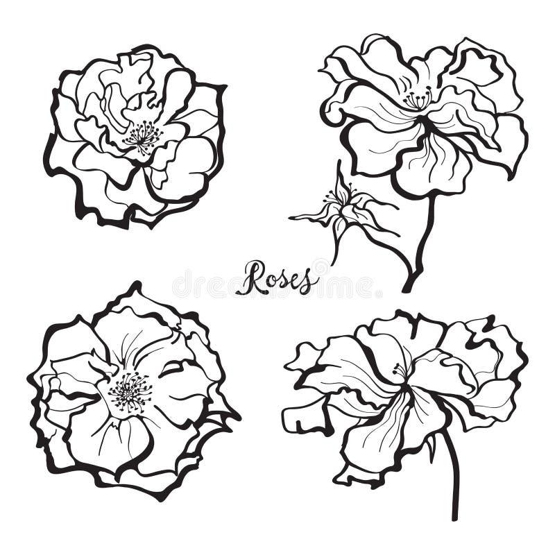 Uppsättning av rosblommaklistermärkear vektor illustrationer