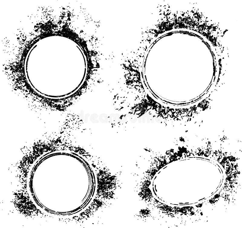 Uppsättning av rund bakgrund för grunge fyra i stil för rubber stämpel Textu vektor illustrationer