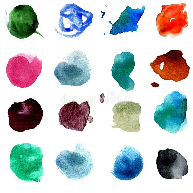 Uppsättning av rund form för 15 mång--färgad vattenfärgfläckar Hand drog färgrika vattenfärgcirklar som isoleras över vit stock illustrationer