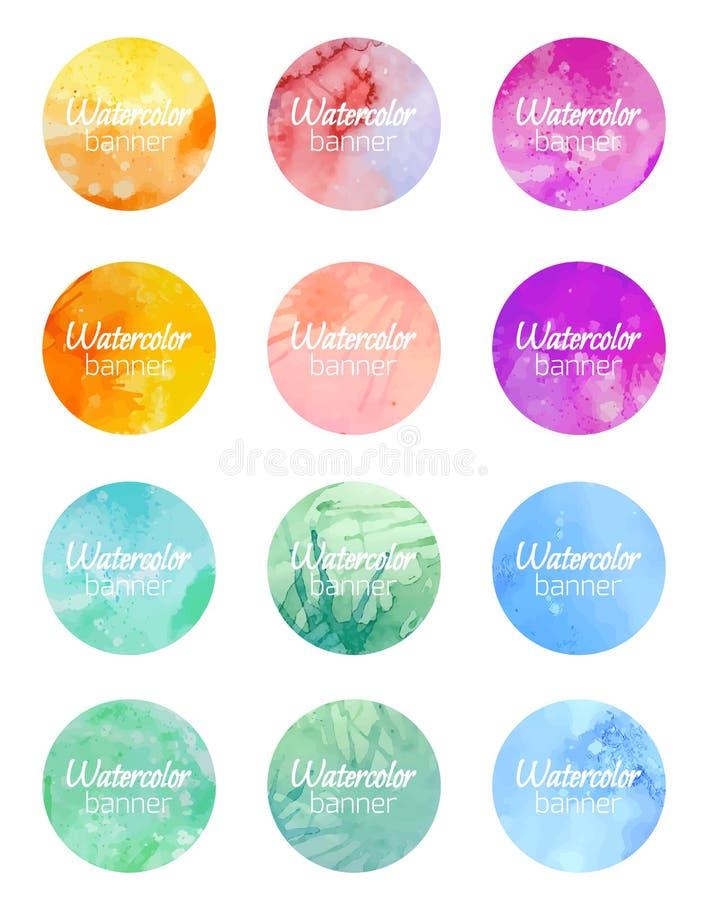 Uppsättning av runda baner med vattenfärgbakgrund stock illustrationer
