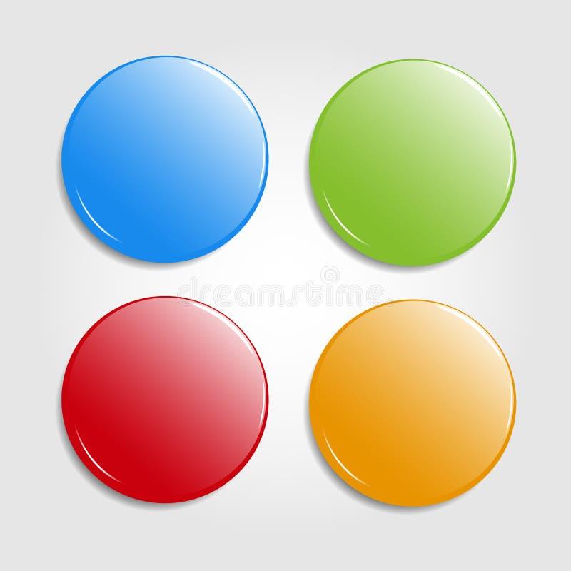 Uppsättning av runda colorfullrengöringsdukknappar som isoleras på ljus bakgrund Glansiga emblem, magneter också vektor för corel royaltyfri illustrationer