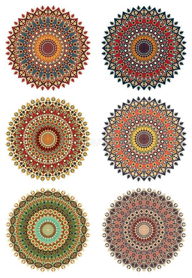 Uppsättning av runda etniska designbeståndsdelar royaltyfri illustrationer