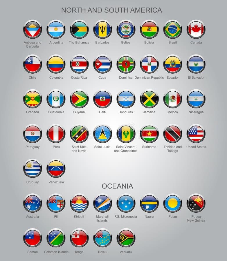 Uppsättning av runda glansiga flaggor av suveräna länder royaltyfri illustrationer
