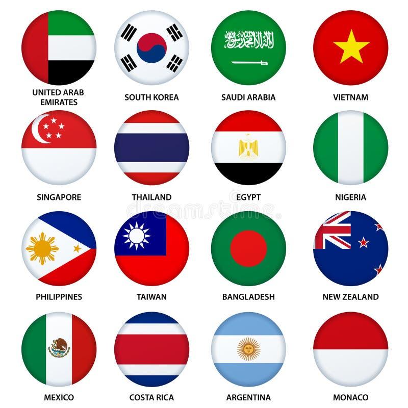 Uppsättning av rundaflaggaknappar - 3 royaltyfri illustrationer