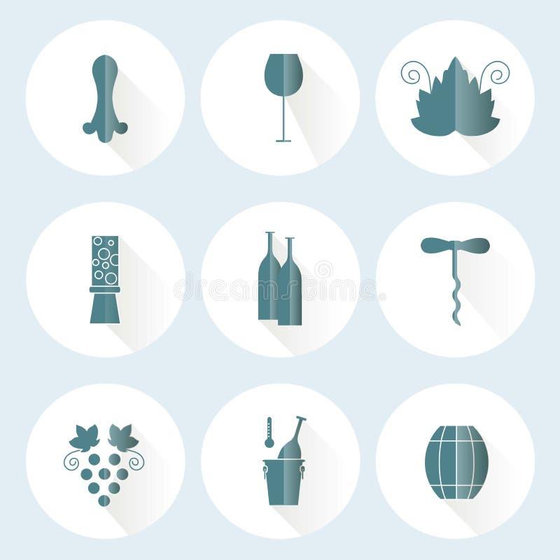 Uppsättning av rundalägenhetsymboler med olika blått på beståndsdelar för vitt vin - flaska, druva, corckscrew royaltyfri illustrationer