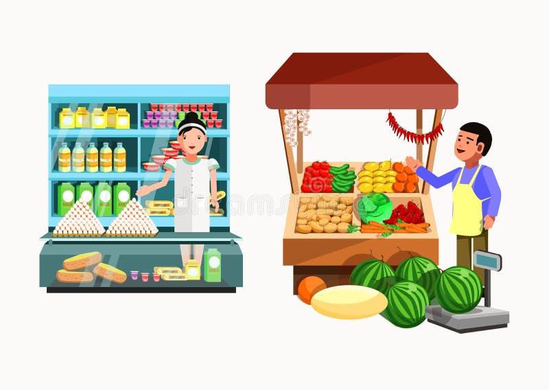 Uppsättning av säljare på räknaren och stallen Samlingsvektorn shoppar stock illustrationer