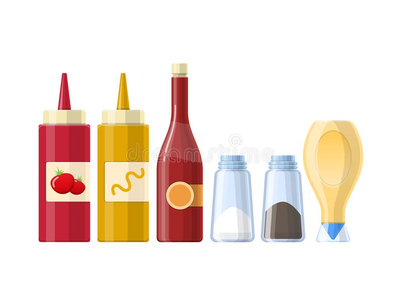 Uppsättning av såser, kryddor och smaktillsatser, i olika realistiska flaskor stock illustrationer
