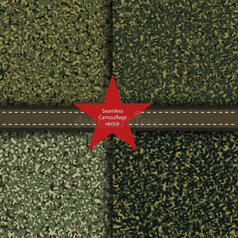 Uppsättning av sömlös bakgrund för kamouflage Militär textur för vektor Abstrakt armé och jakt som maskerar prydnaden stock illustrationer