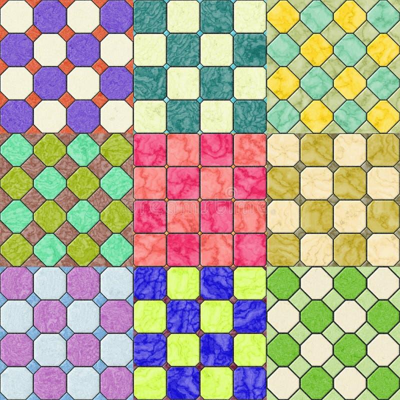 Uppsättning av sömlös frambragd textur för golvtegelplattor royaltyfri illustrationer