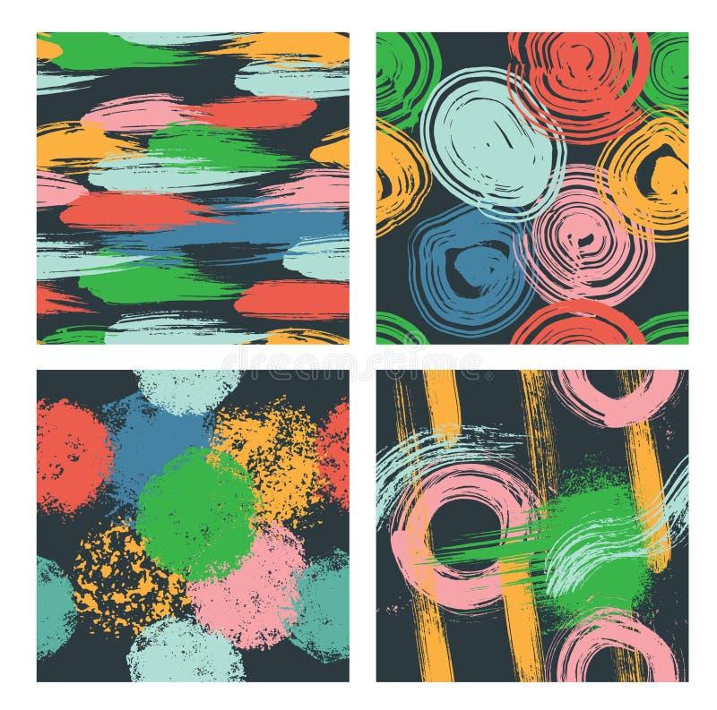 Uppsättning av sömlös hand drog modeller med olika geometriska och konstnärliga beståndsdelar vektor illustrationer
