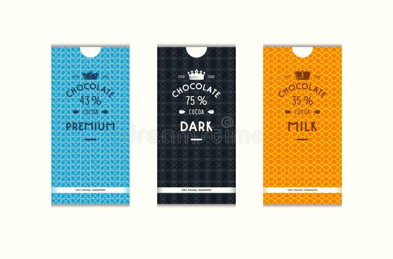 Uppsättning av sömlös modell och etiketter för att förpacka för choklad royaltyfri illustrationer