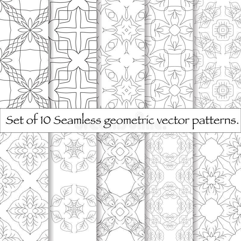 Uppsättning av sömlös modell 10 Upprepa abstrakt bakgrund royaltyfri illustrationer