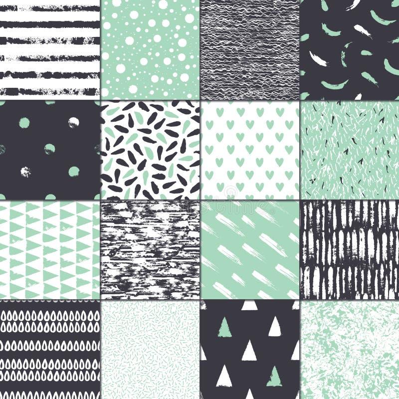 Uppsättning av sömlös textur 16 Abstrakt begreppformer som dras en brett penna och färgpulver vektor illustrationer