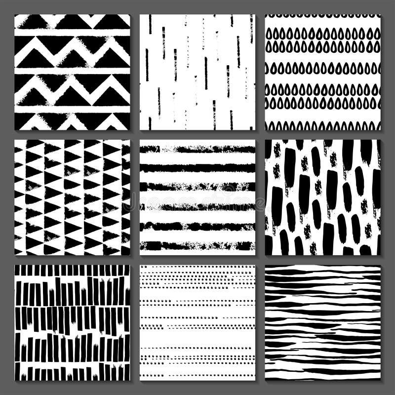 Uppsättning av sömlös textur 9 Droppar pekar, fodrar, gör randig, cirklar, fyrkanter, rektanglar Abstrakt begreppformer som dras  royaltyfri illustrationer