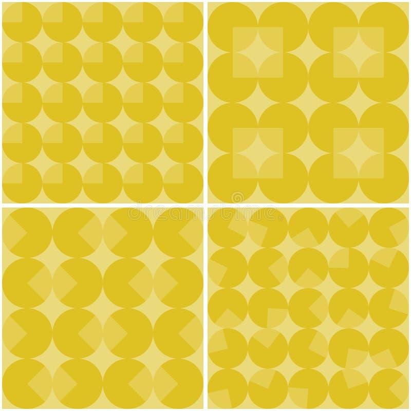 Uppsättning av sömlösa abstrakta geometriska bakgrunder för yelllow royaltyfri illustrationer