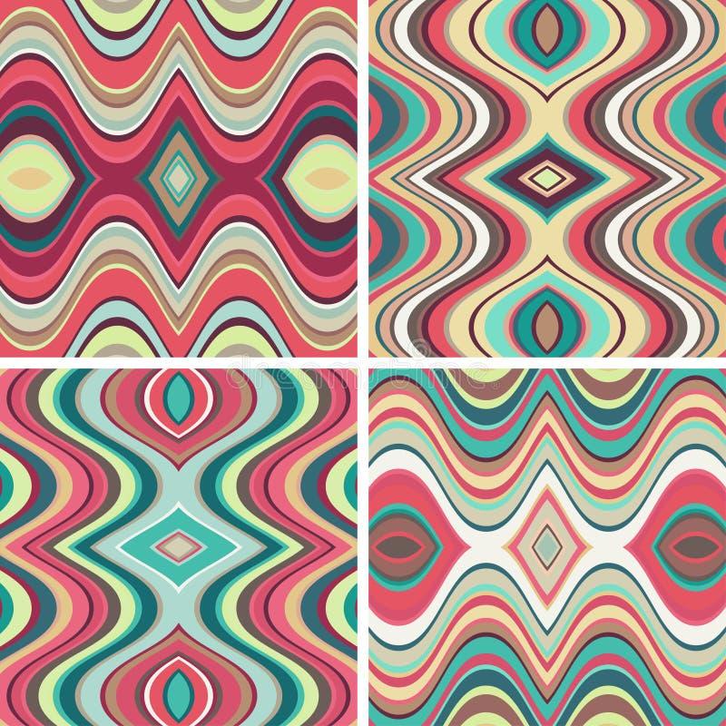 Uppsättning av sömlösa abstrakta krabba bakgrunder för vektor vektor illustrationer