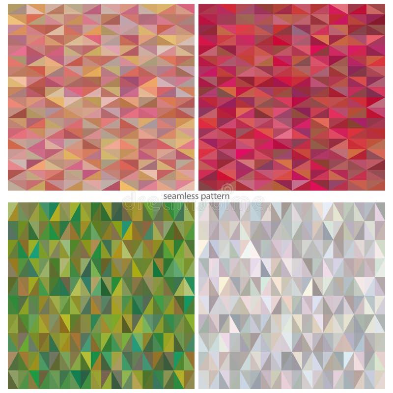 Uppsättning av sömlösa abstrakta modeller av trianglar av olika skuggor royaltyfri illustrationer