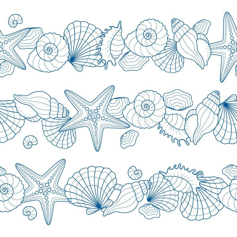 Uppsättning av sömlösa band med snäckskal och sjöstjärnor royaltyfri illustrationer