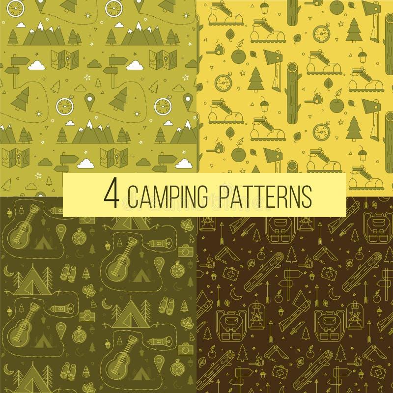 Uppsättning av sömlösa campa modeller stock illustrationer