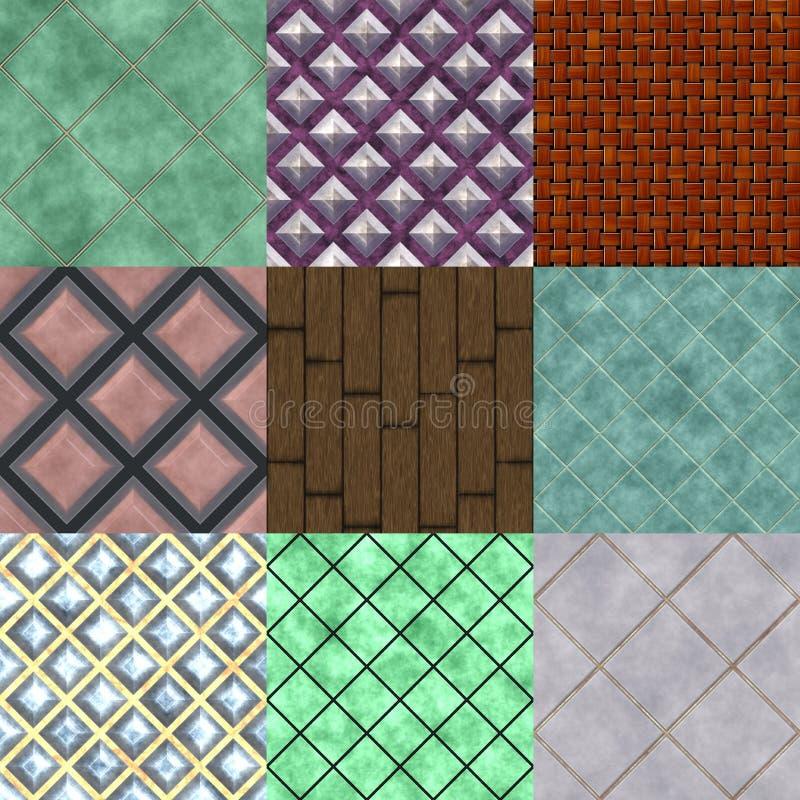 Uppsättning av sömlösa frambragda texturer för golv vektor illustrationer