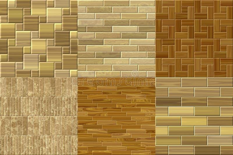 Uppsättning av sömlösa frambragda texturer för wood golv vektor illustrationer