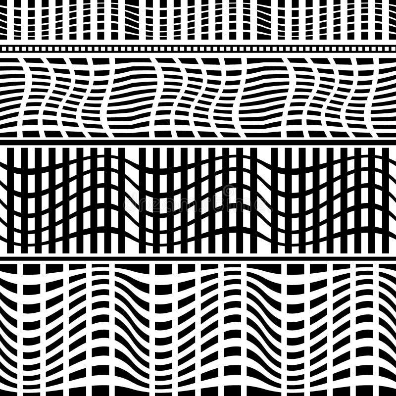 Uppsättning av sömlösa geometriska gränser vektor illustrationer