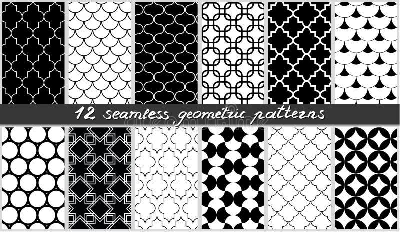 Uppsättning av sömlösa geometriska modeller Islamisk svartvit beståndsdelbakgrundssamling vektor stock illustrationer