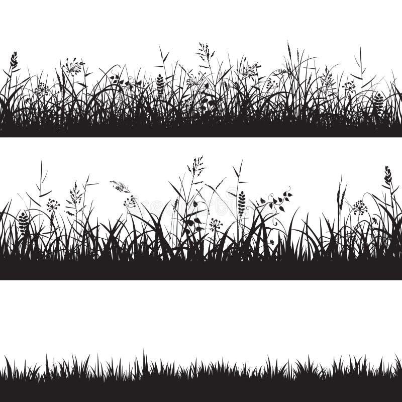 Uppsättning av sömlösa gränser för gräs Svart kontur av gräs, grova spikar och örter vektor vektor illustrationer