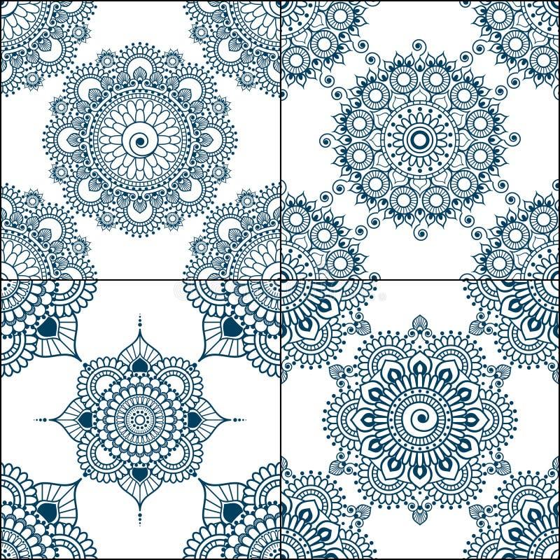 Uppsättning av sömlösa indigoblåttmodeller i blått för golvtegelplattor, dekorativ samling för glasat keramiskt tappning för gull stock illustrationer