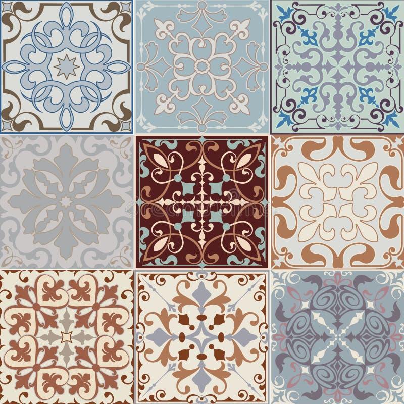 Uppsättning av sömlösa keramiska tegelplattor i blått och beigea retro färger med etniska modeller för tappning och blom- motiv i stock illustrationer