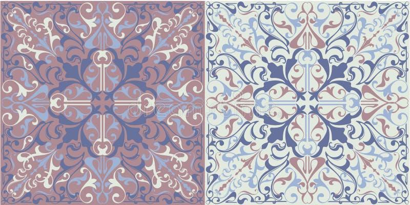 Uppsättning av sömlösa keramiska tegelplattor i blått och beigea retro färger med etniska modeller för tappning och blom- motiv i vektor illustrationer