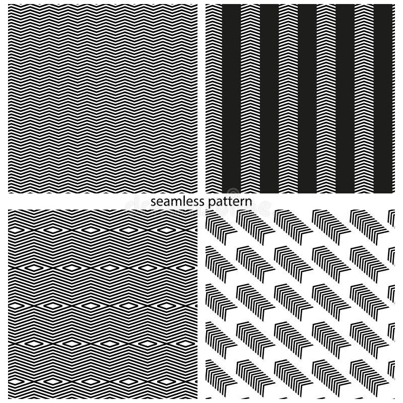 Uppsättning av sömlösa modeller - abstrakta brutna linjer stock illustrationer