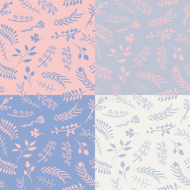 Uppsättning av 4 sömlösa modeller för blom- vektor royaltyfri illustrationer