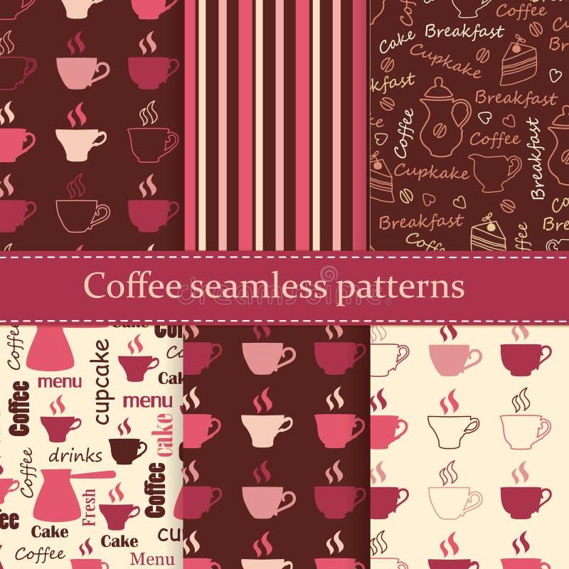 Uppsättning av sömlösa modeller för kaffe vektor illustrationer