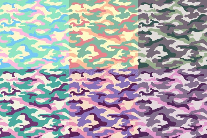 Uppsättning av sömlösa modeller för kamouflage av ovanliga färger också vektor för coreldrawillustration vektor illustrationer