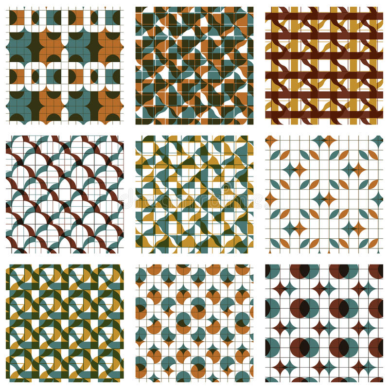 Uppsättning av sömlösa modeller för kulör spisgaller med parallella linjer, ribb royaltyfri illustrationer