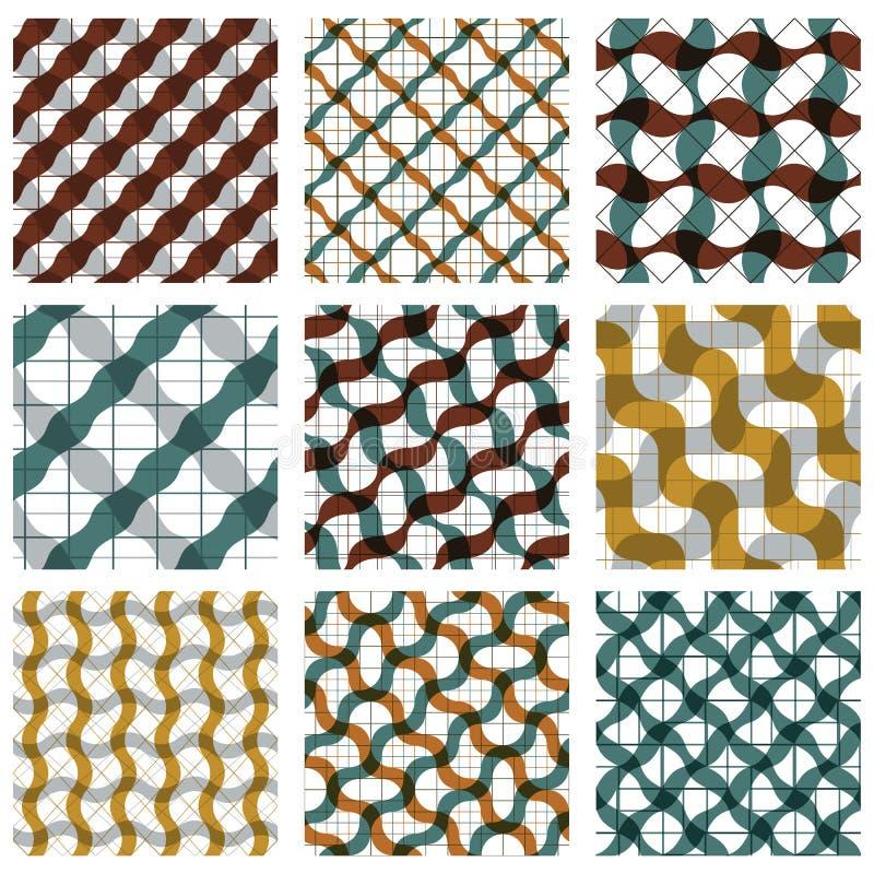 Uppsättning av sömlösa modeller för mångfärgad spisgaller med det parallella bandet vektor illustrationer